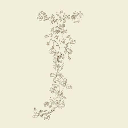 Floral font. Letter J Vector