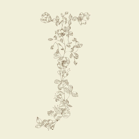 j: Floral font. Letter J