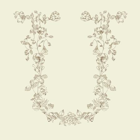 Floral font. Letter U Vector