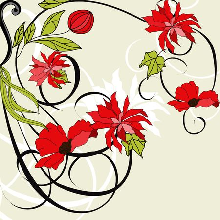 Card with red flowers Vector
