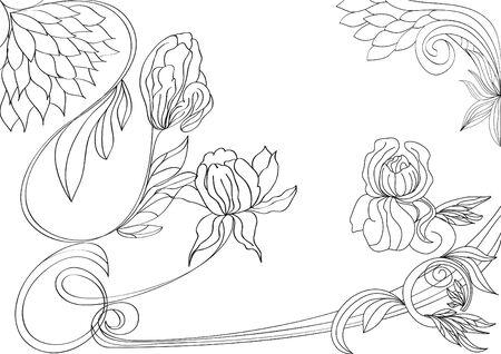 古美術品: 花が付いたスケッチします。