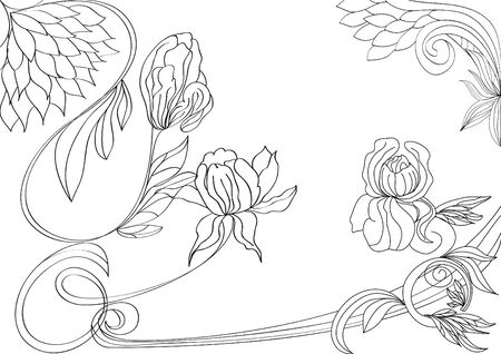 Sketch with flowers Vector