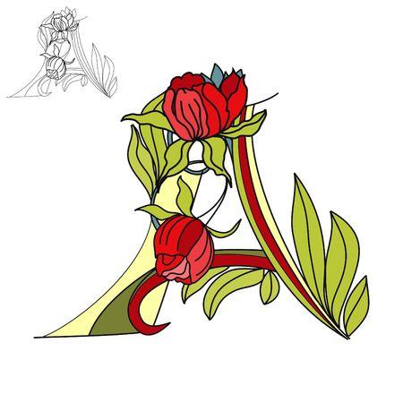 Floral font2. Letter A Vector