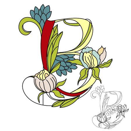 Floral font2. Letter B Vector
