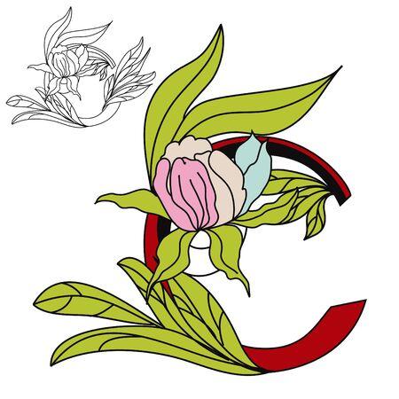 Floral font2. Letter C Vector