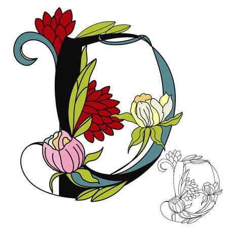 Floral font2. Letter D Vector