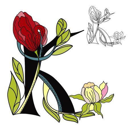 Floral font2. Letter K Vector