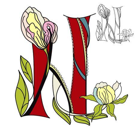 Floral font2. Letter N Vector