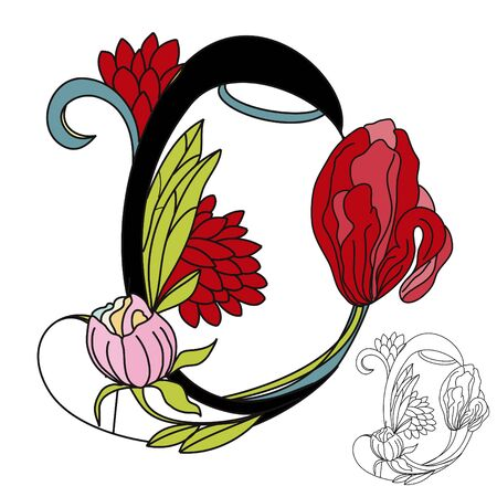 Floral font2. Letter O Vector