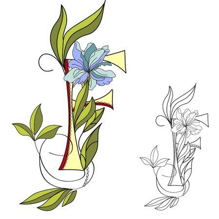 Floral font 2. Letter F Vector
