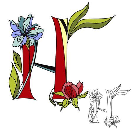Floral font 2. Letter H Vector