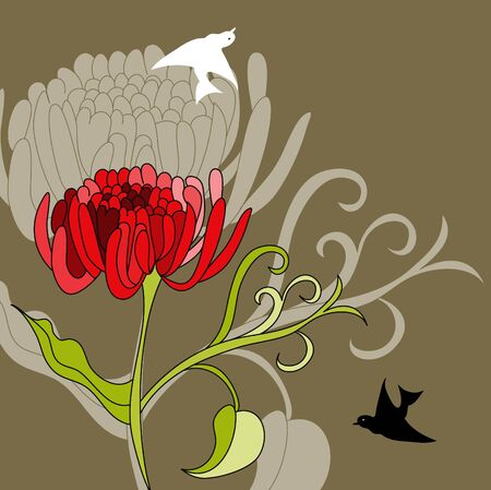 pion: Red flowers Illustration