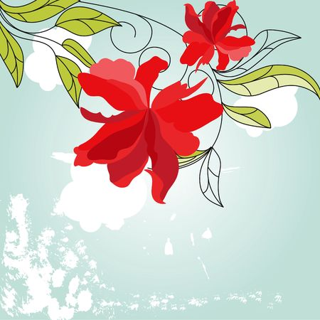 Blue background with red flowers Stock Vector - 6741791