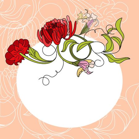 White frame with red flowers Vector
