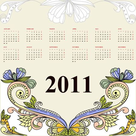 Vintage calendar for 2011 Stock Vector - 6741795