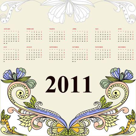 Vintage calendar for 2011 Stock Vector - 6741795