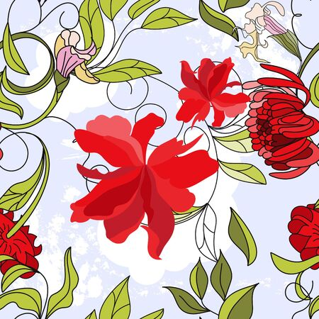 Floral seamless pattern with red flowers Stock Vector - 6741801