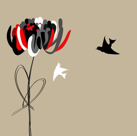 Abstract paeonia flower with bird Stock Vector - 6741802