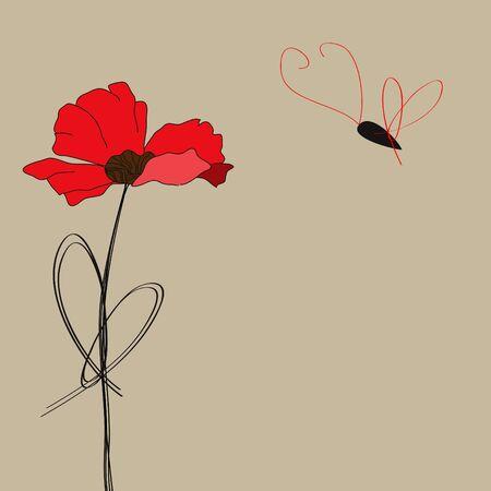 Papaver bloemen met vlinder  Vector Illustratie