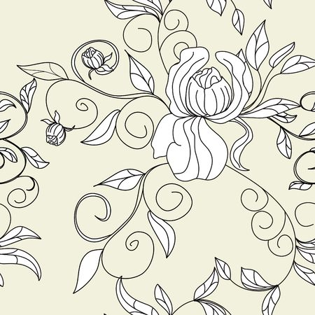 Retro stylized seamless wallpaper with flowers Vector