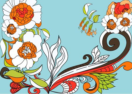 Blue background with colorful flowers Vector