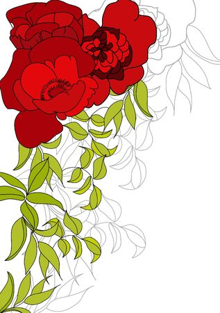 Background with red flowers and green leaves Vector