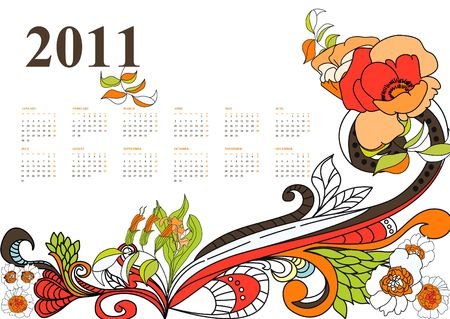 calendar for 2011 with decorative pattern Vector
