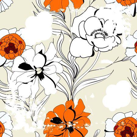 paeonia: Vintage seamless pattern