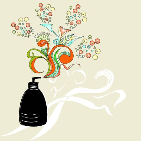 cosmetic container with floral ornament Vector