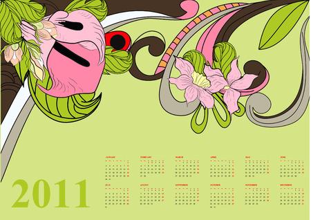 Decorative calendar for 20011 Vector