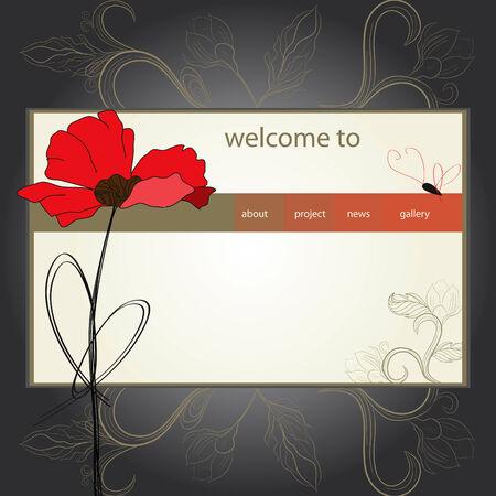website design template with poppy flower Vector