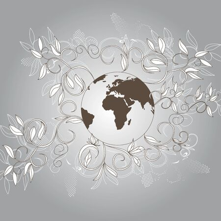 Vintage background with globe Vector