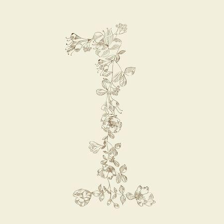 Floral font. Number 1 Vector