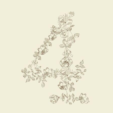 Floral font. Number 4 Vector