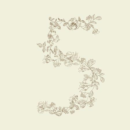 Floral font. Number 5 Vector