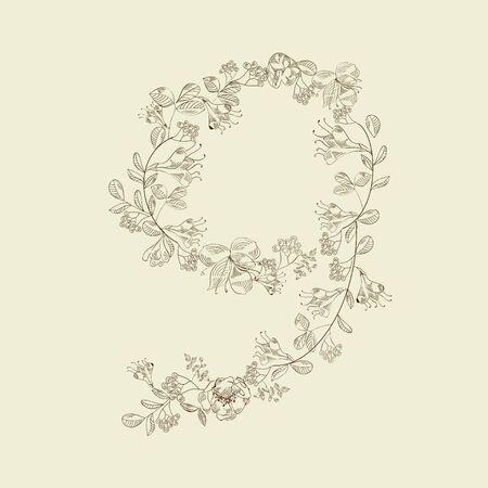 Floral font. Number 9 Vector