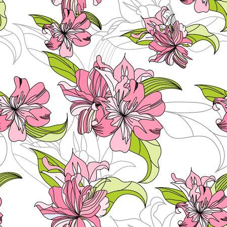 lily flowers: papel tapiz transparente con flores de color rosa de lirio