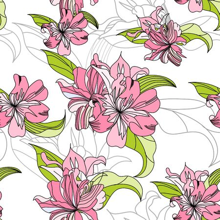 abstract flowers: seamless wallpaper with pink lily flowers Illustration
