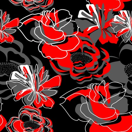 Seamless wallpaper with stylized flowers Vector