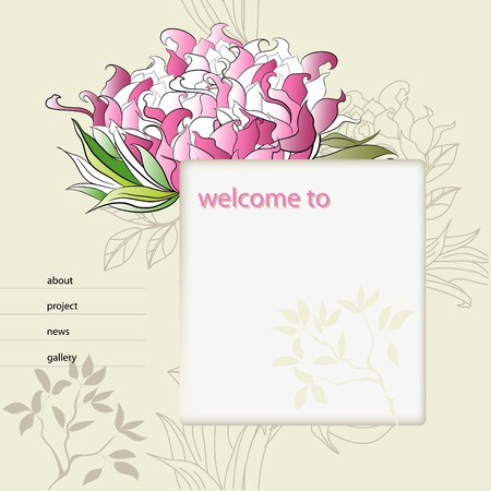 website design template with decorative flower  Vector