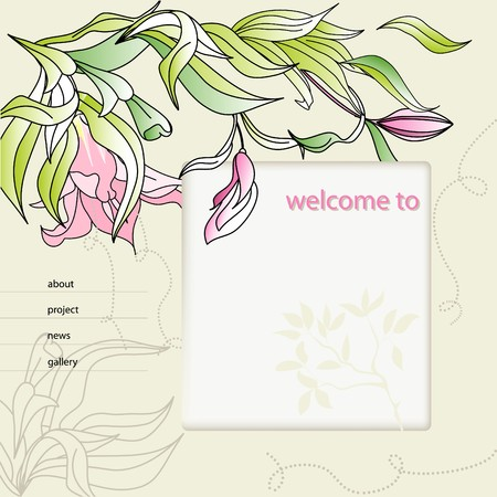 flayer: website design template with Lily flowers  Illustration