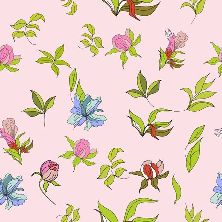 pion: Seamless wallpaper with flowers on pink