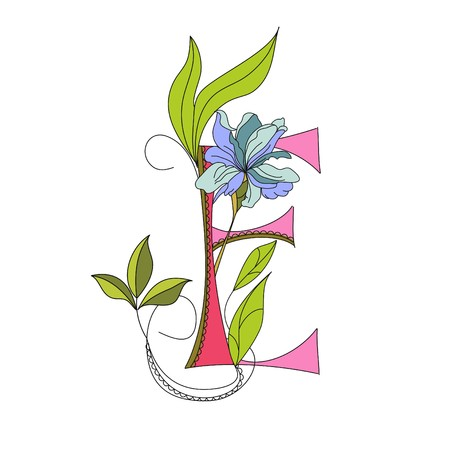 Floral font 2. Letter E Vector