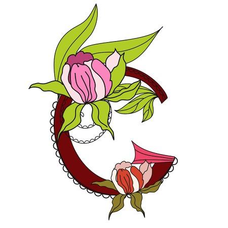 Floral font 2. Letter G Vector
