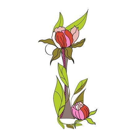 Floral font 2. Letter I Vector