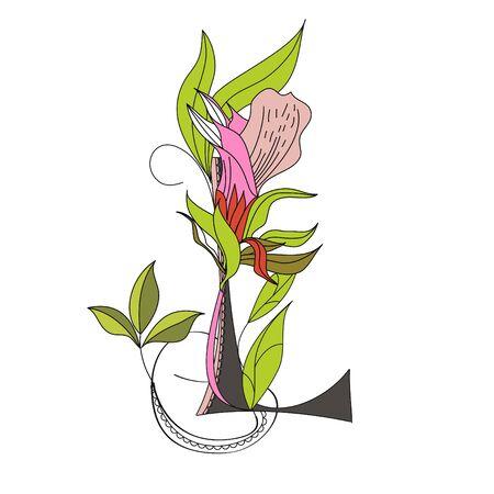 Floral font 2. Letter L Vector