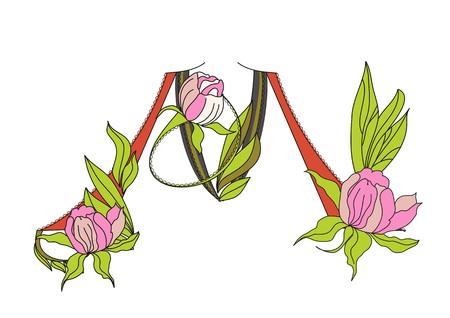 Floral font 2. Letter  M Vector