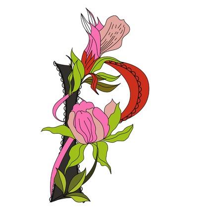 Floral font 2. Letter P Vector