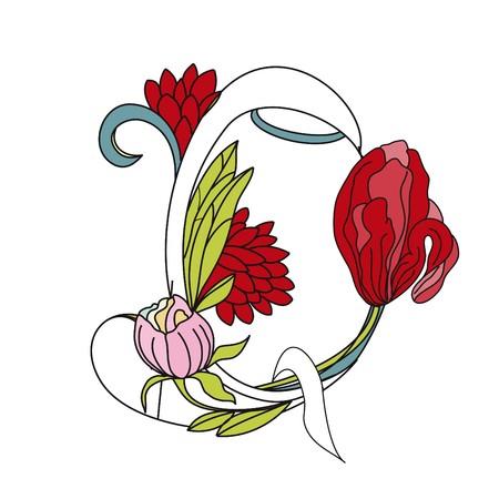 Floral font 2. Letter Q Vector