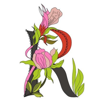 Floral font 2. Letter R Vector